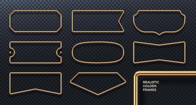 Set of realistic golden metal frames 3d golden geometric banners