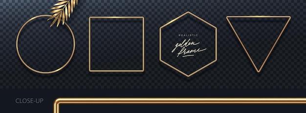 Set of realistic golden metal frames 3d golden geometric shapes