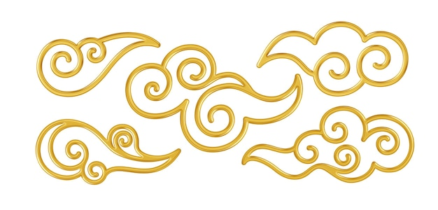 Set of realistic golden shiny chinese traditional symbols of clouds.  illustration