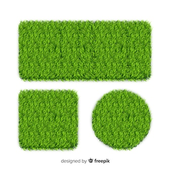 Set of realistic grass banner