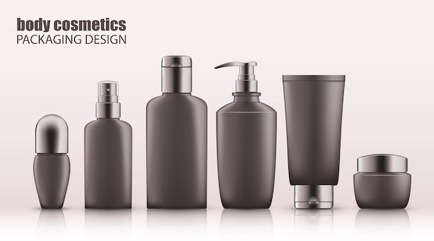 Set of realistic gray bottles with silver cap for body cosmetics