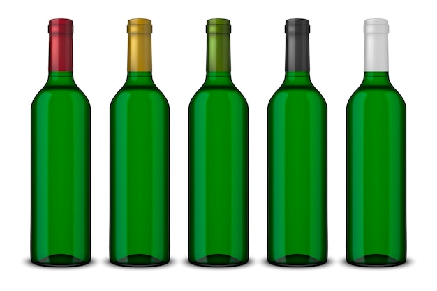Set realistic green bottles of wine without labels isolated