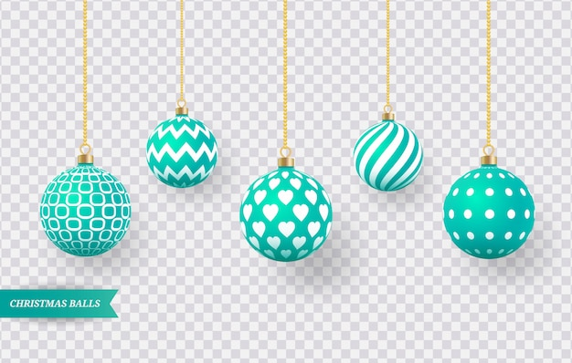Set of realistic green christmas balls with various patterns.