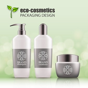 Set of realistic green glass bottles eco cosvetic