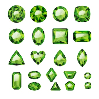 Set of realistic green jewels. colorful gemstones. green emeralds  on white background.