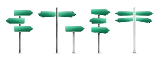 Set of realistic green road signs isolated on white