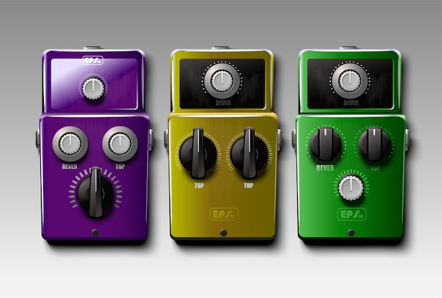 Set of realistic guitar effects pedals