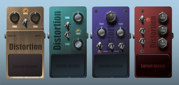Set of realistic guitar pedal effects.