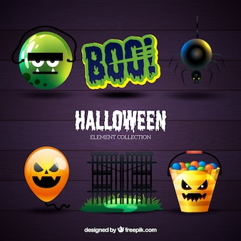 Set of realistic halloween items