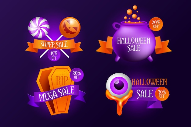 Set of realistic halloween sale badges