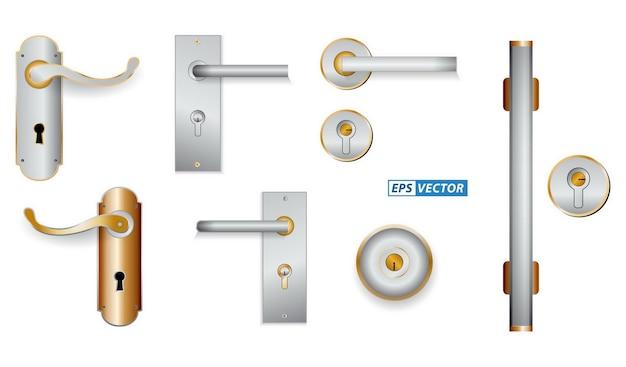 Set of realistic handle door metal isolated or modern handle door style for home office