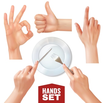 Set of realistic hands holding cutlery near empty dish and various gestures