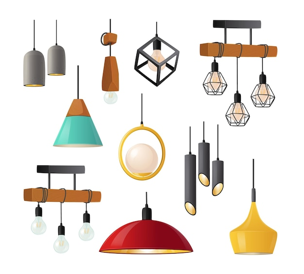 Set of realistic hanging lamps with stylish bizarre lampshades isolated