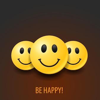 Set of realistic happy emoticons. positive illustration.