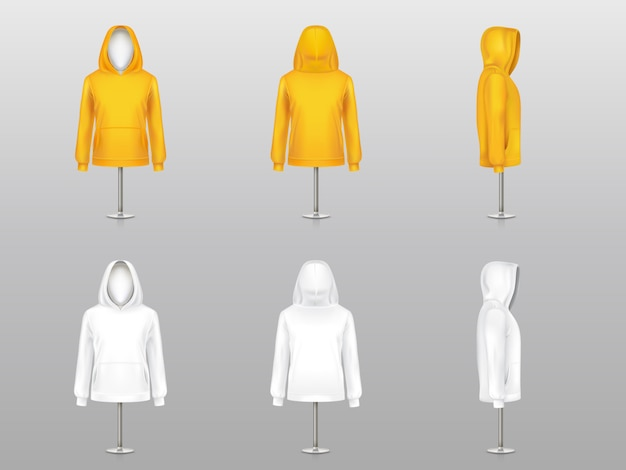 Set of realistic hoodies on mannequins and metal poles, sweatshirt model with long sleeve