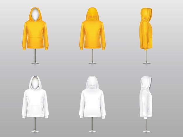 Set of realistic hoodies on mannequins and metal poles, sweatshirt model with long sleeve