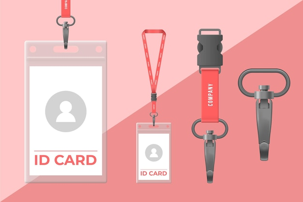 Set of realistic id card stationery