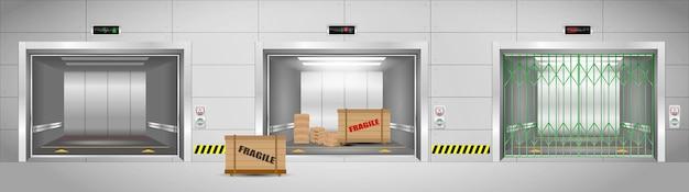 Set of realistic industrial elevators