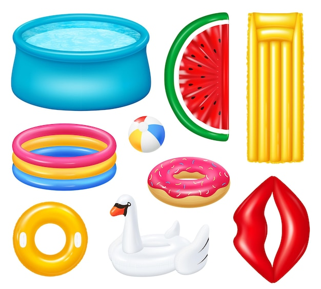Set of realistic inflatable pools with colorful accessories for swimming isolated