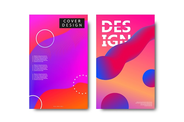 Set of realistic isolated brochures with geometric gradient fluid liquid shapes