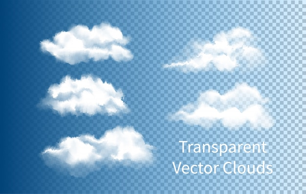 Set of realistic isolated cloud on the transparent background