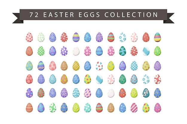 Set of realistic isolated easter eggs