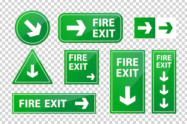 Set of realistic isolated fire exit sign for decoration and covering on the transparent background.
