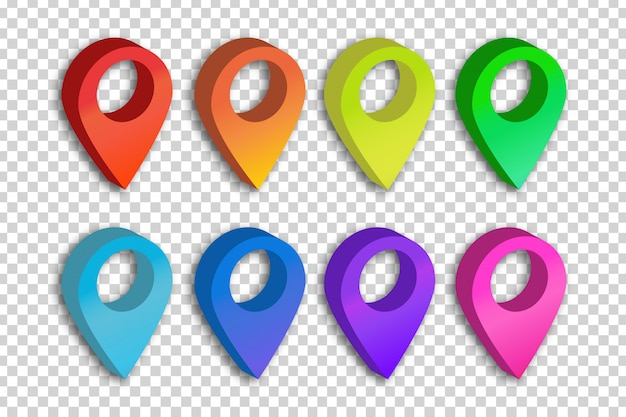 Set of realistic isolated map pins on the transparent background. concept of navigation, transportation, delivery and journey.
