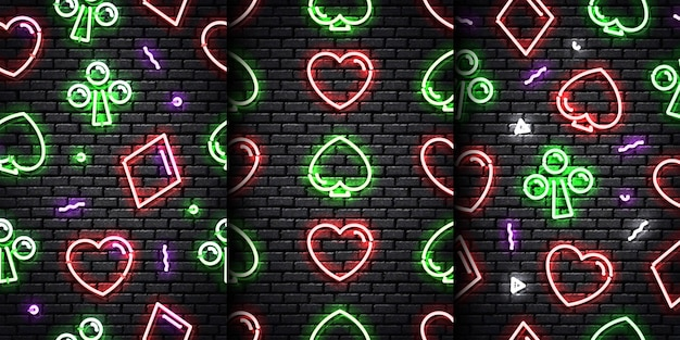 Set of realistic isolated neon seamless pattern of card suit on the seamless wall