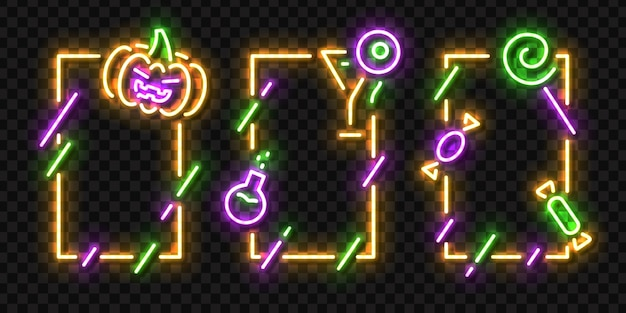 Set of realistic isolated neon sign of halloween frames logo