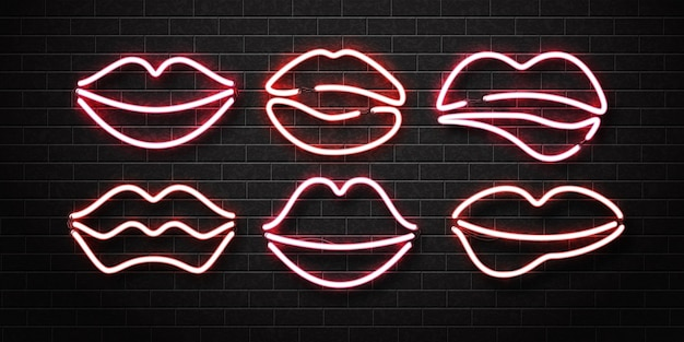 Set of realistic isolated neon sign of lips logo on a wall.