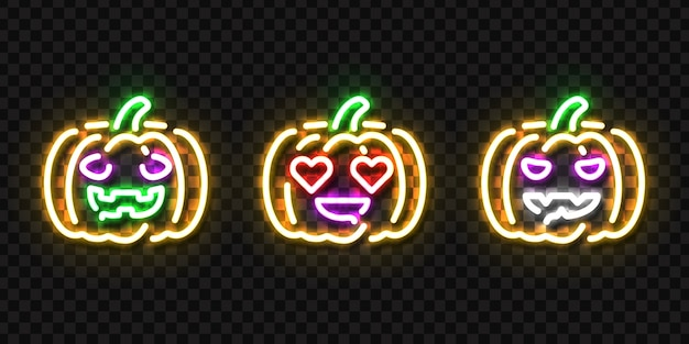 Set of realistic isolated neon sign of pumpkin logo
