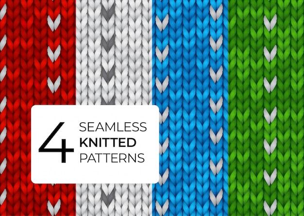 A set of realistic knitted patterns. colored seamless knitted textures for the background of the site, greeting cards, wallpapers, invitations, banners.  illustration for a dark background.