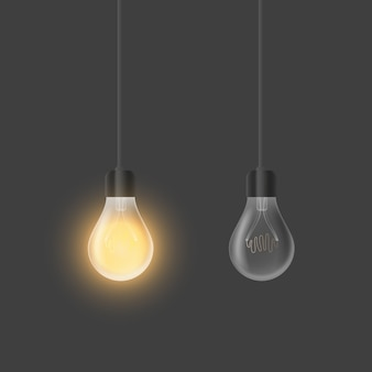 Set of realistic light bulbs. loft style lamps isolated on gray background. element for interior design.