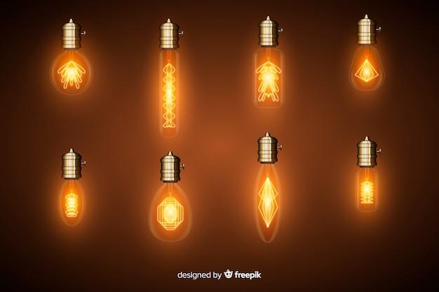 Set of realistic light bulbs