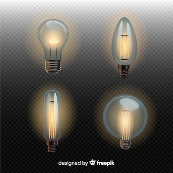 Set of realistic light bulbs