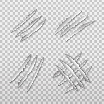 Set of realistic  lion claw scratch on the transparent background.