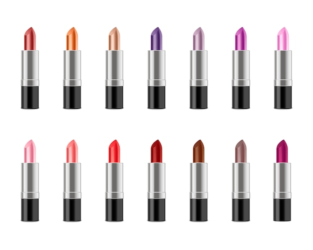 Set of realistic lipstick