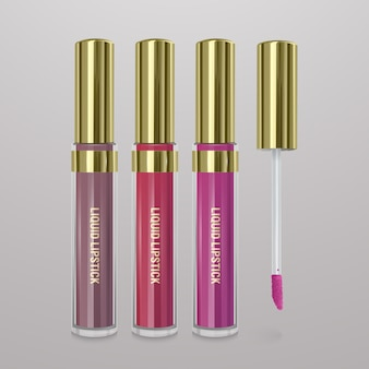 Set of realistic, liquid lipstick. 3d illustration, trendy cosmetic design