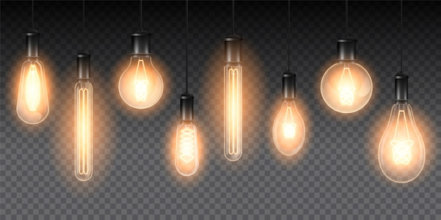Set of realistic luminous lamps, lamps hanging on a wire. incandescent lamp.isolated on a checkered dark background
