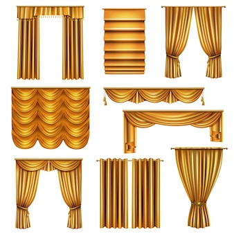 Set of realistic luxury gold curtains of various drapery with decorative elements isolated