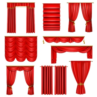 Set of realistic luxury red curtains of various on cornices with golden elements isolated