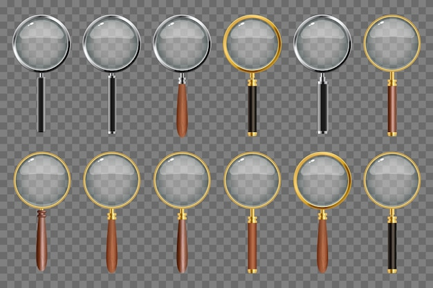 Set of realistic magnifying glass on transparent background