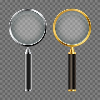 Set of realistic magnifying glass vector design