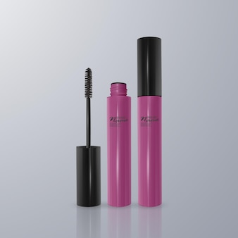 Set of realistic mascara and brush stroke, beauty and cosmetic     illustration.