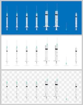 Set of realistic medical syringes