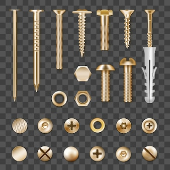 Set of realistic metal golden fasteners isolated on transparent