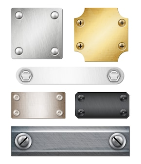 Set of realistic metal plates of various shape and color with fasteners isolated