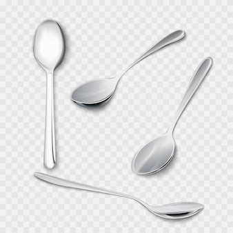 Set of realistic metal spoons from different points of view. 3d realism. teaspoon illustration isolated on white background.