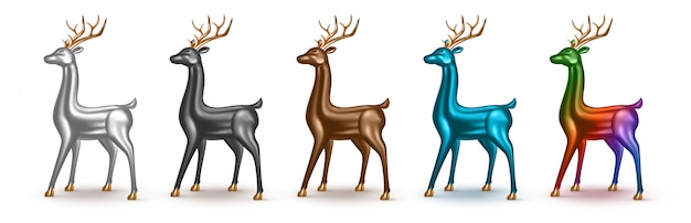 Set of realistic metallic  deer with different color